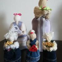 Bamboline con lana e stoffe di recupero- Luisa C.